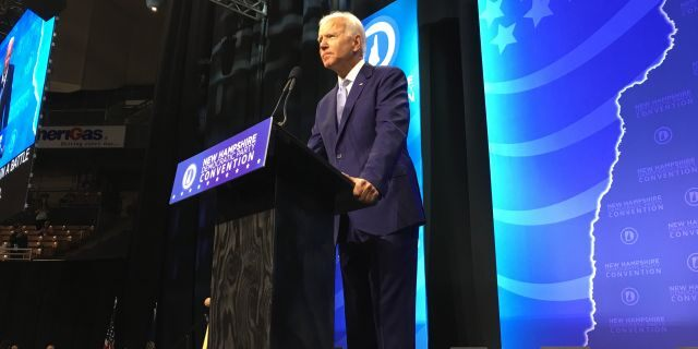 Former Vice President Joe Biden addresses the audience at the New Hampshire Democratic Party's annual convention, in Manchester, NH on Saturday Sept. 7, 2019