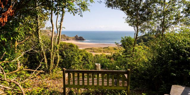 A wooden bench on a clifftop is up for sale for $614,500 - because it boasts breathtaking views of one of Britain's best beaches.