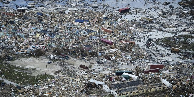 Utter devastation was seen in Marsh Harbour on Great Abaco Island.