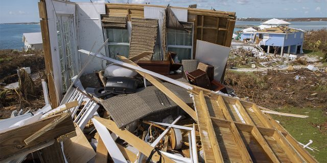 Damaged homes seen Friday after hurricane Dorian devastated Elbow Key Island.
