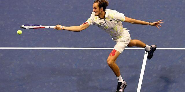 Daniil Medvedevz returning a shot during the U.S. Open final.