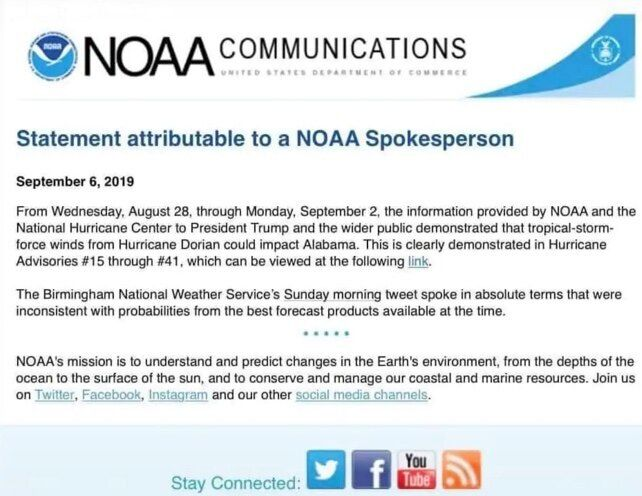 In an unattributed statement released by the NOAA Friday, the agency seemed to corroborate the president's incorrect claims a