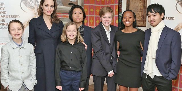 "Angelina Jolie with children Knox Leon Jolie-Pitt, Vivienne Marcheline Jolie-Pitt, Pax Thien Jolie-Pitt, Shiloh Nouvel Jolie-Pitt, Zahara Marley Jolie-Pitt and Maddox Chivan Jolie-Pitt attend ""The Boy Who Harnessed The Wind"" Special Screening at Crosby Street Hotel on Feb. 25, 2019 in New York City."