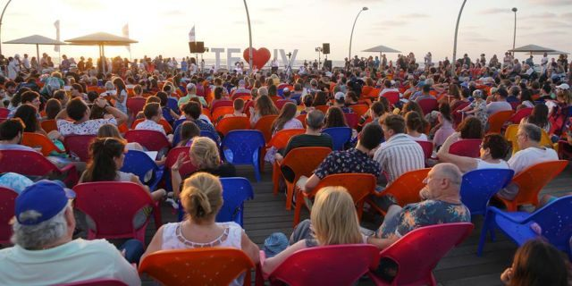Beit Tefilah Israeli holding weekly services as the Kabbalat Shabbat on the Tel Aviv Port.