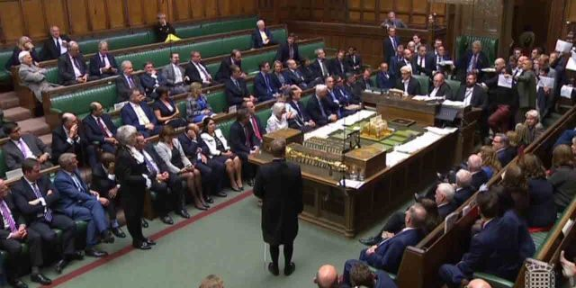 In this image made from video, British lawmakers stage a protest in the House of Commons before prorogation of Parliament, in London, Tuesday Sept. 10, 2019. The British government has formally suspended Parliament, sending lawmakers home for five weeks amid a Brexit crisis. (Parliament TV via PA via AP)