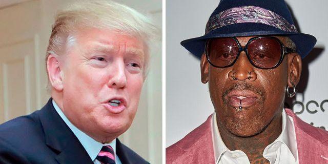 Dennis Rodman and President Trump. (AP/Getty)