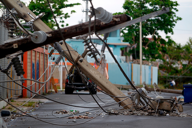 Power poles downed by Hurricane Maria in San Juan, Puerto Rico, on Nov. 7, 2017.