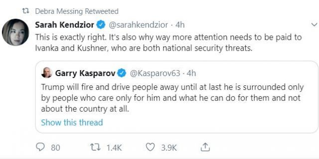 "Actress Debra Messing retweets someone describing Ivanka Trump and Jared Kushner as ""national security threats."" @DebraMessing/Twitter"