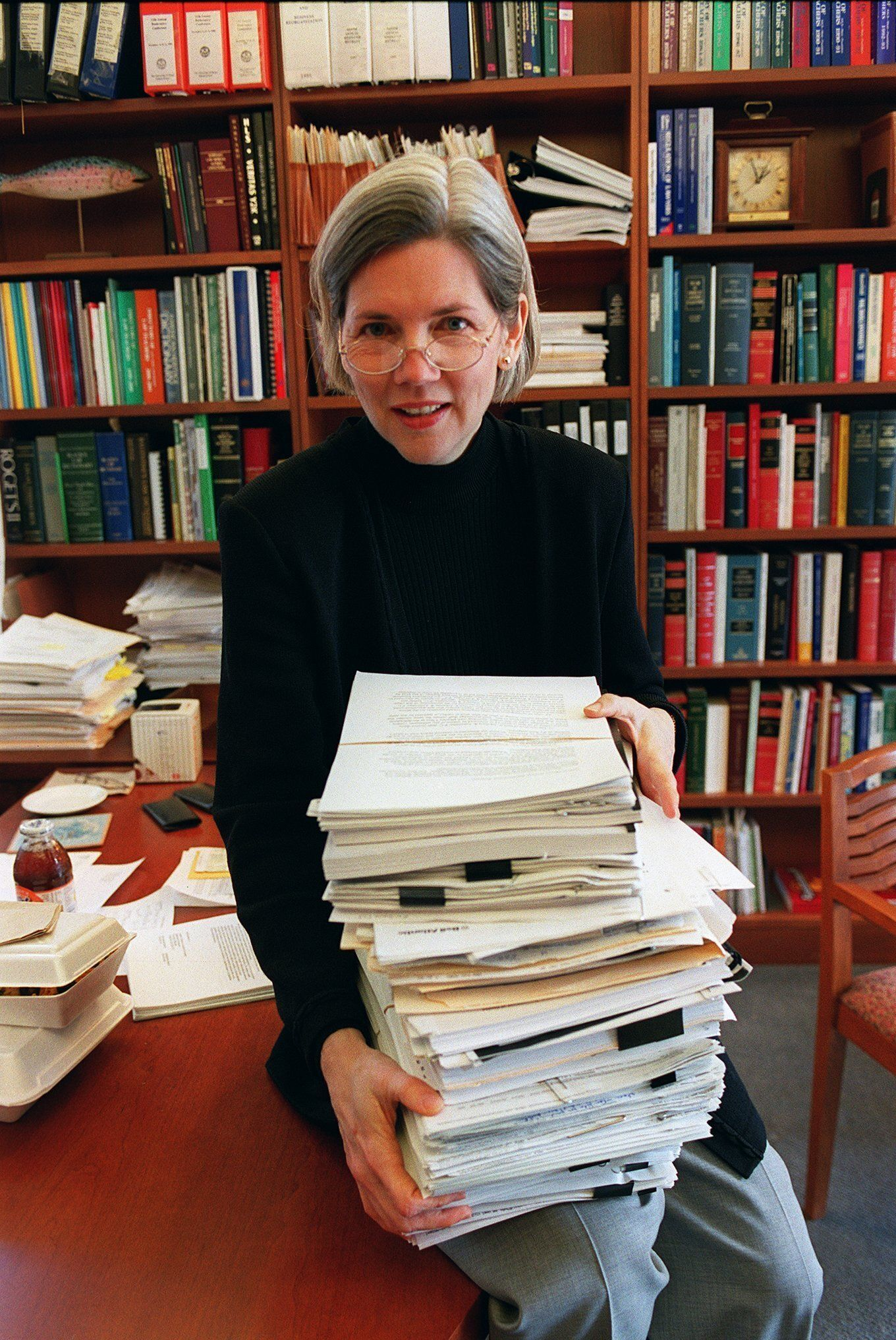 Warren, pictured in 2001 when she was a Harvard Law School professor, was a leading opponent of the bankruptcy bills champion