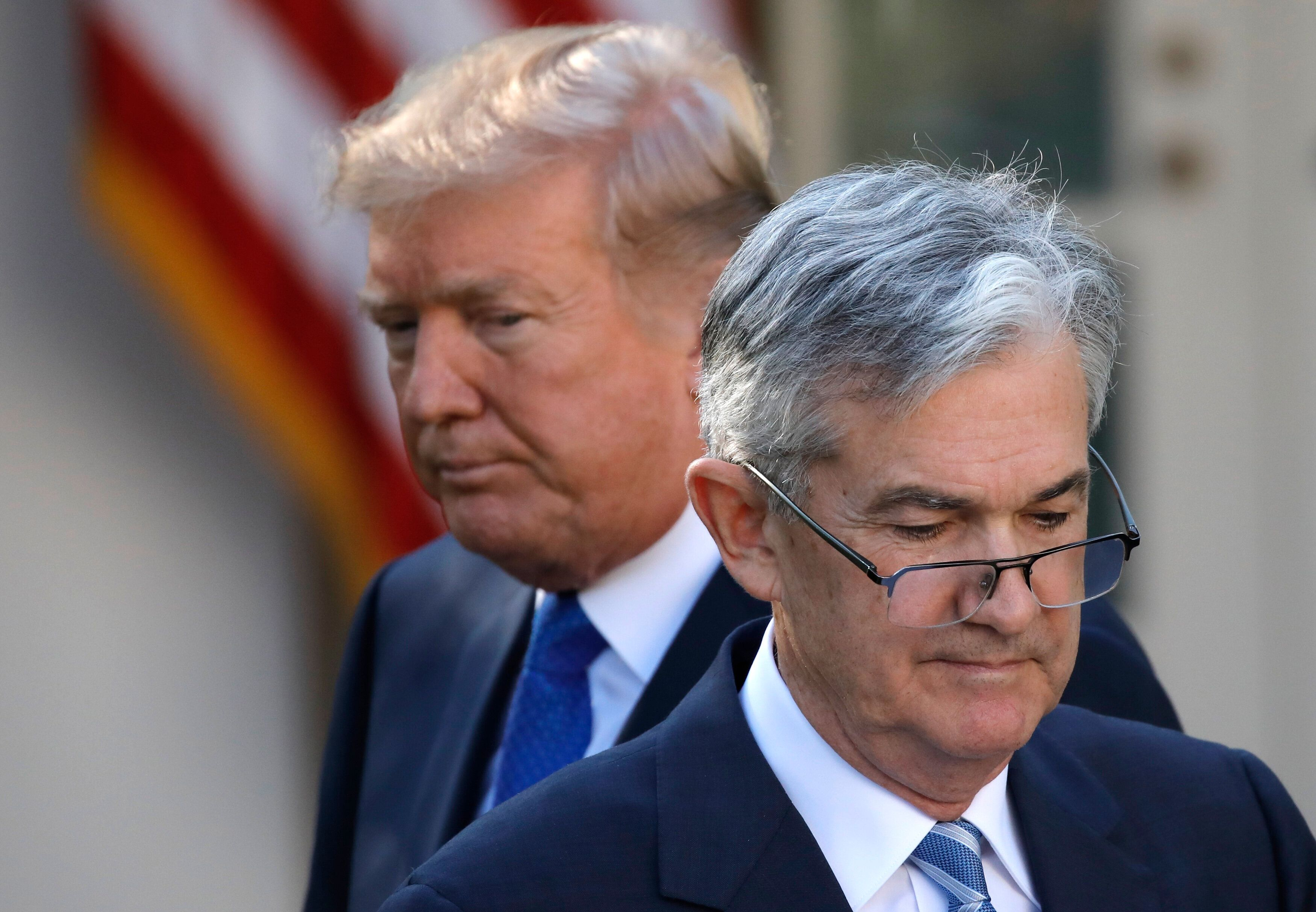 President Donald Trump looks on as Jerome Powell, then his nominee to become chairman of the Federal Reserve, prepares to spe