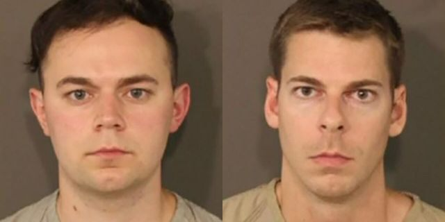 Christian Gibson, 26, left, a former church youth director, and Austin Kosier, 31, a medical doctor were both charged with attempted unlawful sexual conduct with a minor and importuning, authorities say.