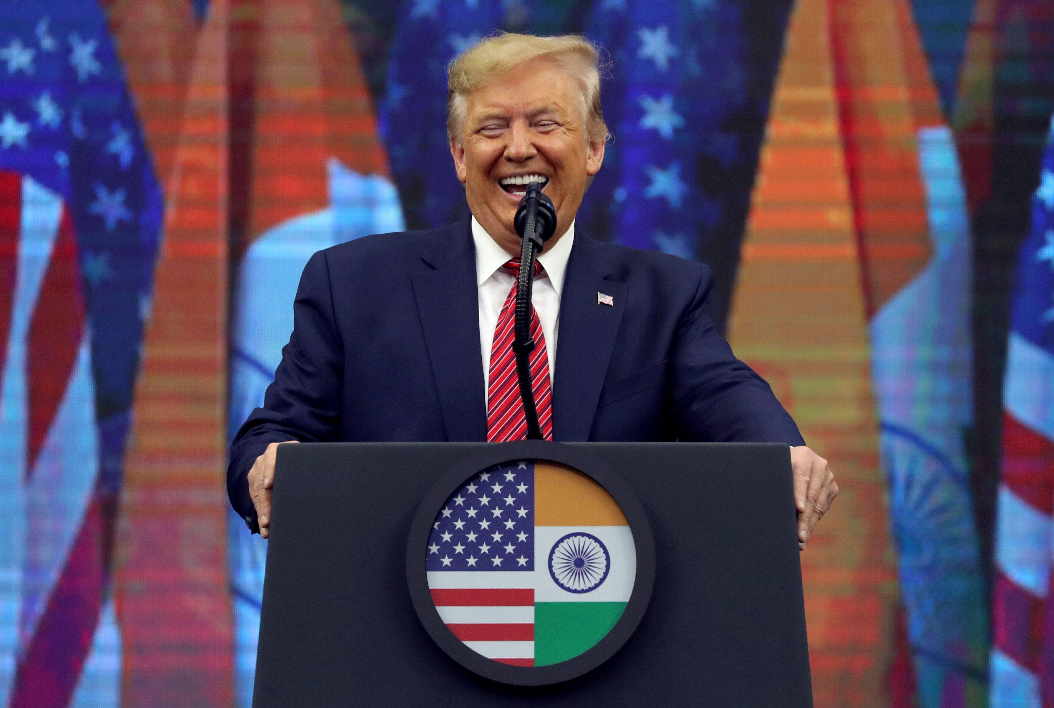 "President Donald Trump speaks during the ""Howdy Modi"" event in Houston on Sunday."