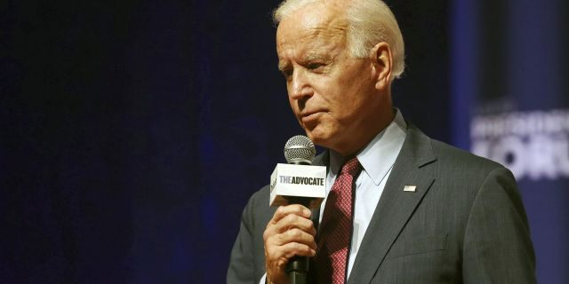 Democratic presidential candidate Joe Biden speaks at an LGBTQ Presidential Forum in the Sinclair Auditorium on the Coe College campus in Cedar Rapids, Iowa, Friday, Sept. 20, 2019. (Rebecca F. Miller/The Gazette via AP)