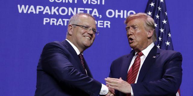 President Trump and Australian Prime Minister Scott Morrison shaking hands at Pratt Industries on Sunday in Wapakoneta, Ohio.