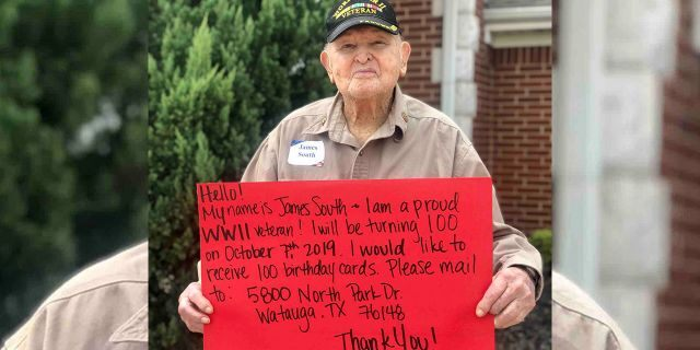 James South is turning 100 next month and for his birthday is requesting 100 cards in a post that has since gone viral.