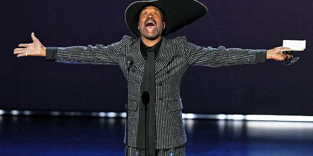 """Billy Porter accepts the outstanding lead actor in a drama series award for """"Pose"""" onstage during the 71st Emmy Awards at Microsoft Theater on Sunday."""