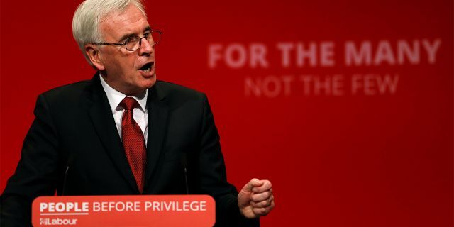 British Labour MP John McDonnell speaks during the party's annual conference in Brighton on Monday. (REUTERS/Peter Nicholls)