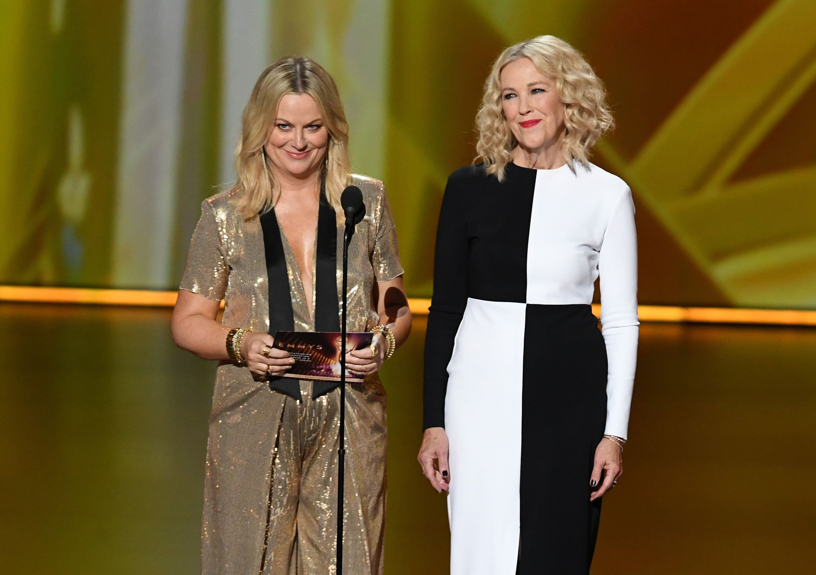 Amy Poehler and Catherine O'Hara speak onstage during the 71st Emmy Awards at Microsoft Theater on September 22, 2019 in Los