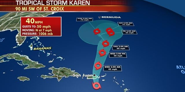 The forecast track of Tropical Storm Karen.