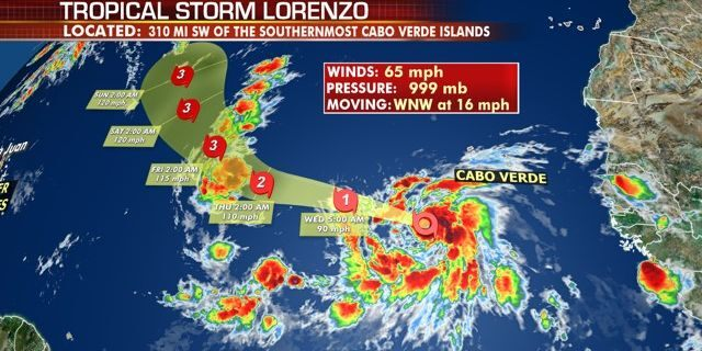 The forecast track of Tropical Storm Lorenzo.