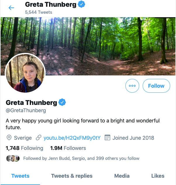 Greta Thunberg's Twitter page.