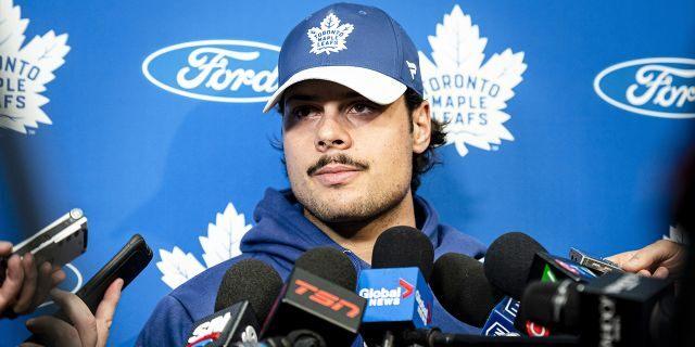 Toronto Maple Leafs center Auston Matthews speaks to media during an NHL hockey press conference in Toronto, Thursday, Sept. 12, 2019. (Christopher Katsarov/The Canadian Press via AP)