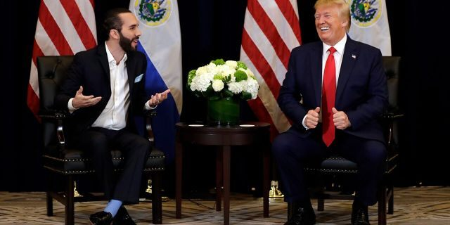 President Donald Trump meets with President Nayib Bukele of El Salvador Wednesday on the sidelines of the U.N. General Assembly. (AP Photo/Evan Vucci)