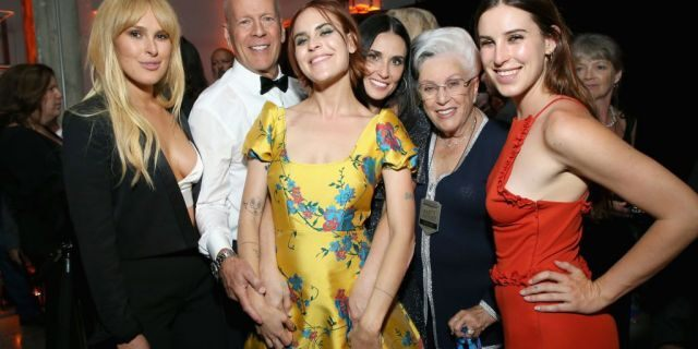 From left: Rumer Willis, Bruce Willis, Tallulah Belle Willis, Demi Moore, Marlene Willis and Scout LaRue Willis attend the after party for the Comedy Central Roast of Bruce Willis in Los Angeles last year.