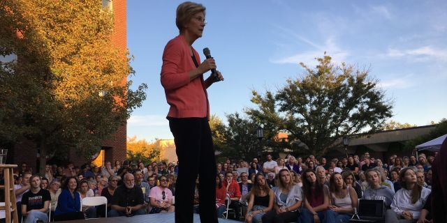 Presidential candidate Elizabeth Warren speaking at a campaign event in Keene, N.H., on Wednesday.