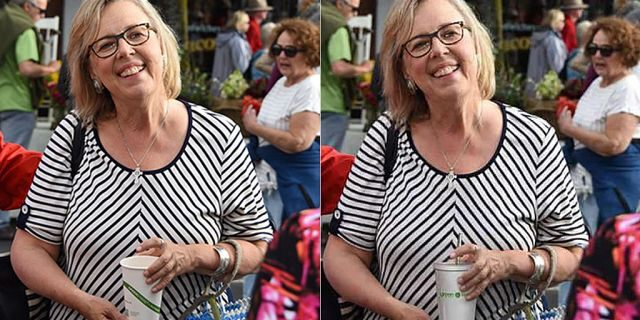Two versions of a photo posted to the Green Party website that shows Elizabeth May holding a disposable cup on the left and a reusable cup on the right.