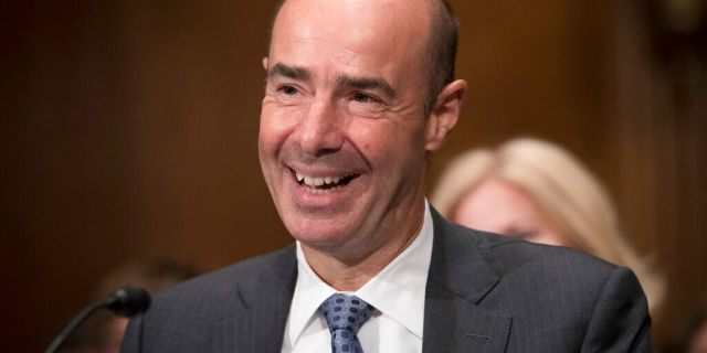 Secretary of Labor nominee Eugene Scalia speaks during his nomination hearing on Capitol Hill, in Washington, Thursday, Sept. 19, 2019. (AP Photo/Cliff Owen)