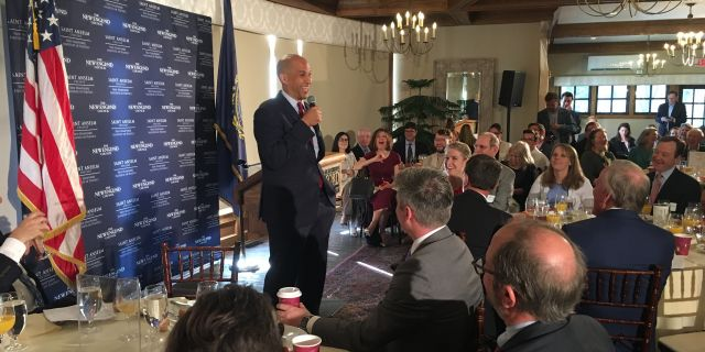 Democratic presidential candidate Sen. Cory Booker of New Jersey headlines the 'Politics and Eggs' speaking series, in Bedford, NH on Sept. 26, 2019