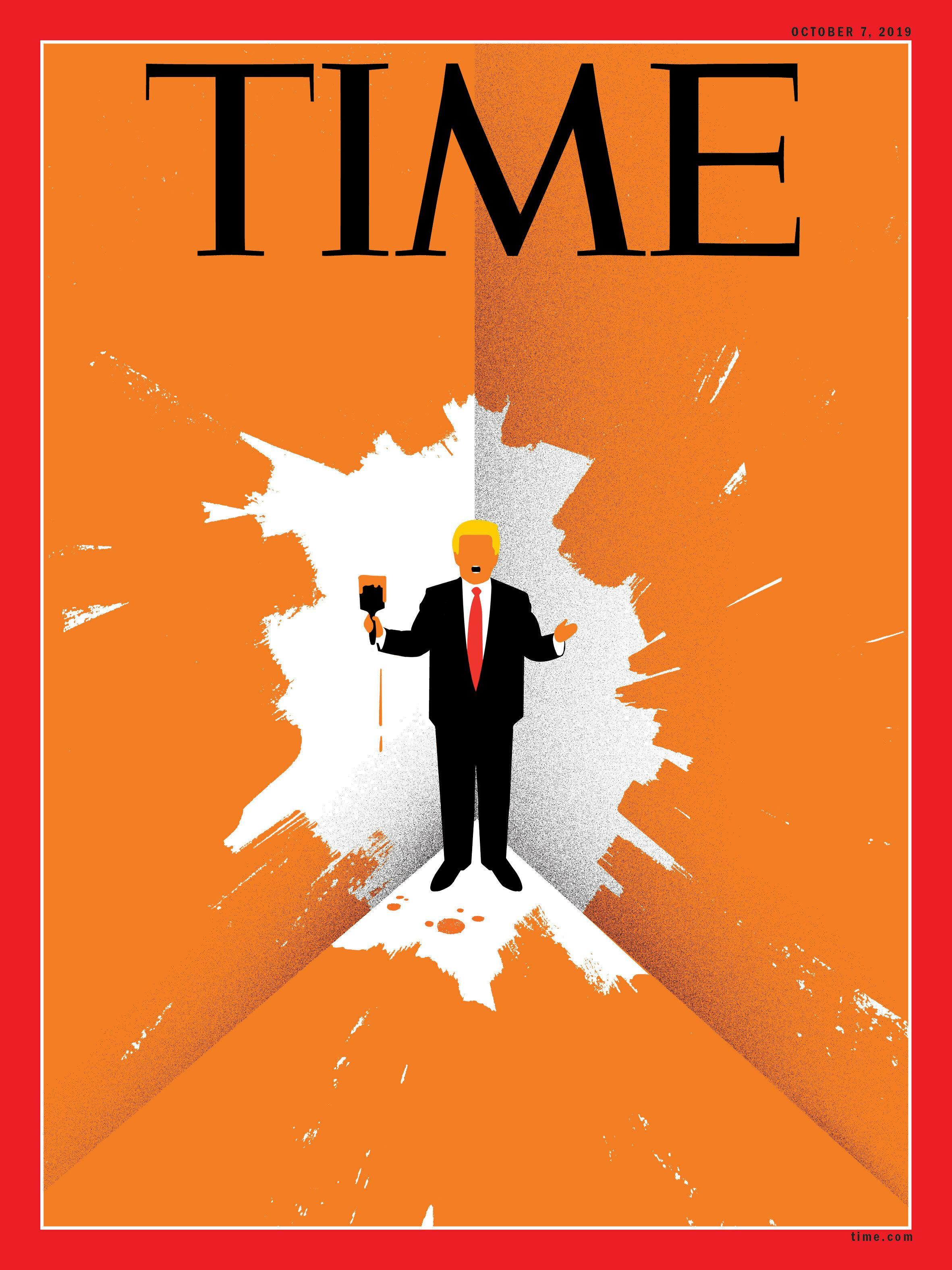 President Donald Trump paints himself into a corner on the cover of the Oct. 7 issue of Time magazine.