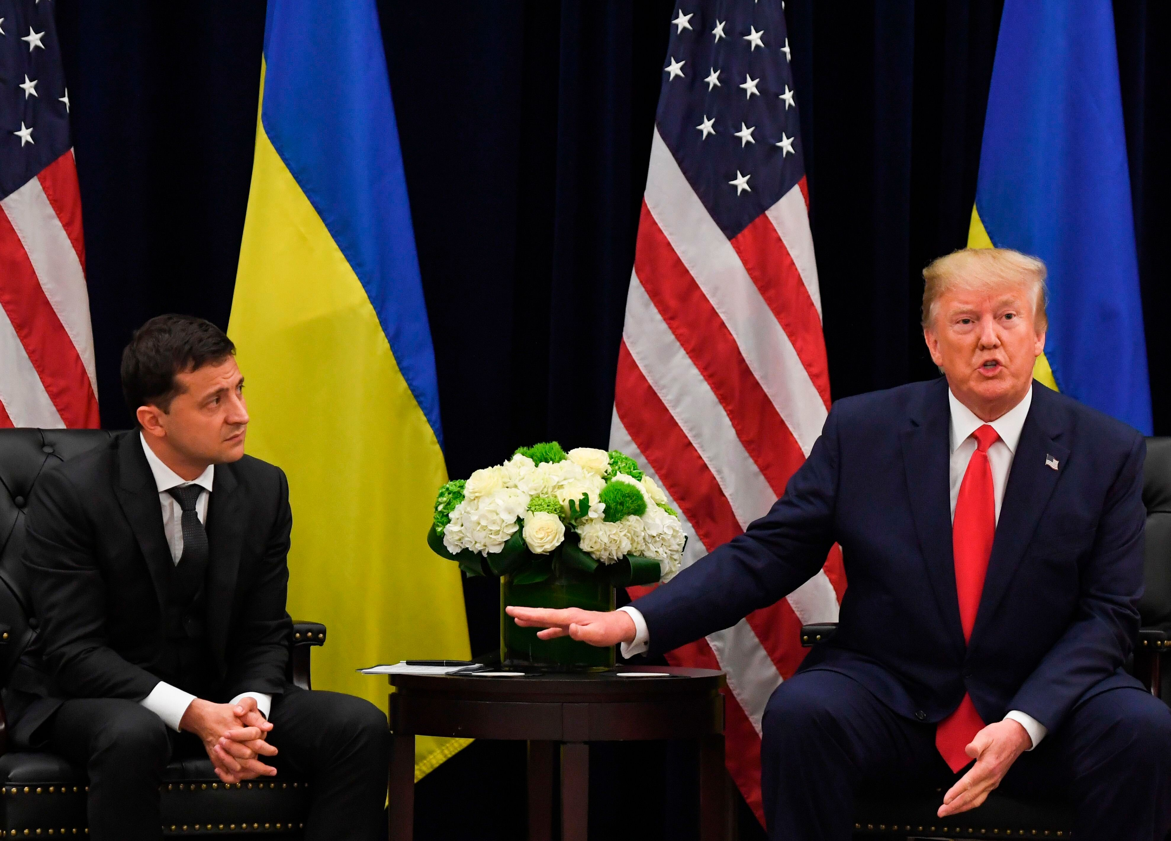 President Donald Trump and Ukrainian President Volodymyr Zelensky at the United Nations General Assembly on Wednesday.