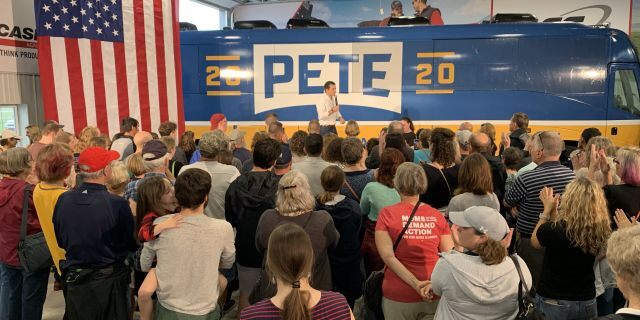 Democratic Presidential Candidate Pete Buttigieg campaigns in Boone, Iowa during his four-day bus tour through the Hawkeye State. (Mitti Hicks/Fox News)