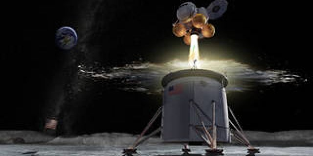 Artist's rendering of an ascent vehicle separating from a descent vehicle and departing the lunar surface.
