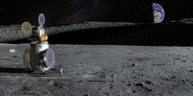 Artist's impression of the Artemis Lander on the lunar surface.