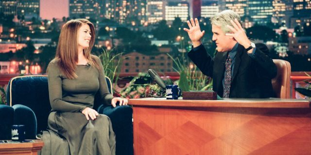 """Kathy Ireland during an interview with """"Tonight Show"""" host Jay Leno on June 23, 1999. (NBCU Photo Bank via Getty Images)"""