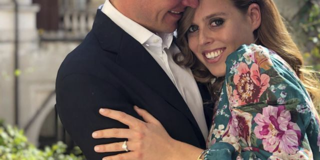 This undated photo released by Buckingham Palace shows Britain's Princess Beatrice and Edoardo Mapelli Mozzi in Italy.