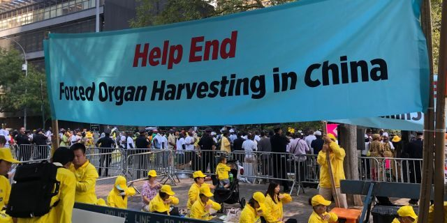 Falung Gong advocates demonstrate across from the U.N. (Adam Shaw/Fox News)
