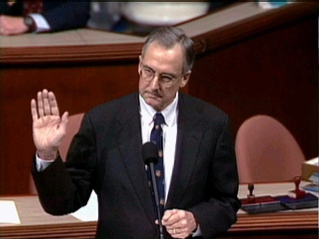 Rep. Bob Livingston, R-La., shown in this television image, acknowledges other members of the House right after calling for President Clinton to resign, and just before announcing his own resignation from Congress, during the House session Saturday, Dec. 19, 1998, in Washington, during debate on the four articles of impeachment against President Clinton. (AP Photo/APTN)