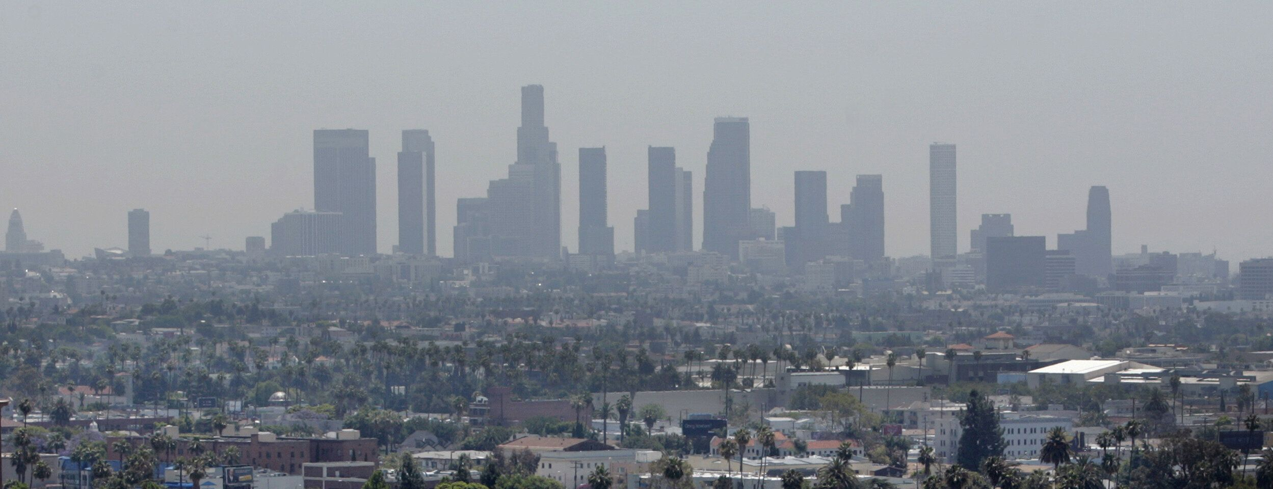 Smog clouds the Los Angeles skyline in this photo from 2006.