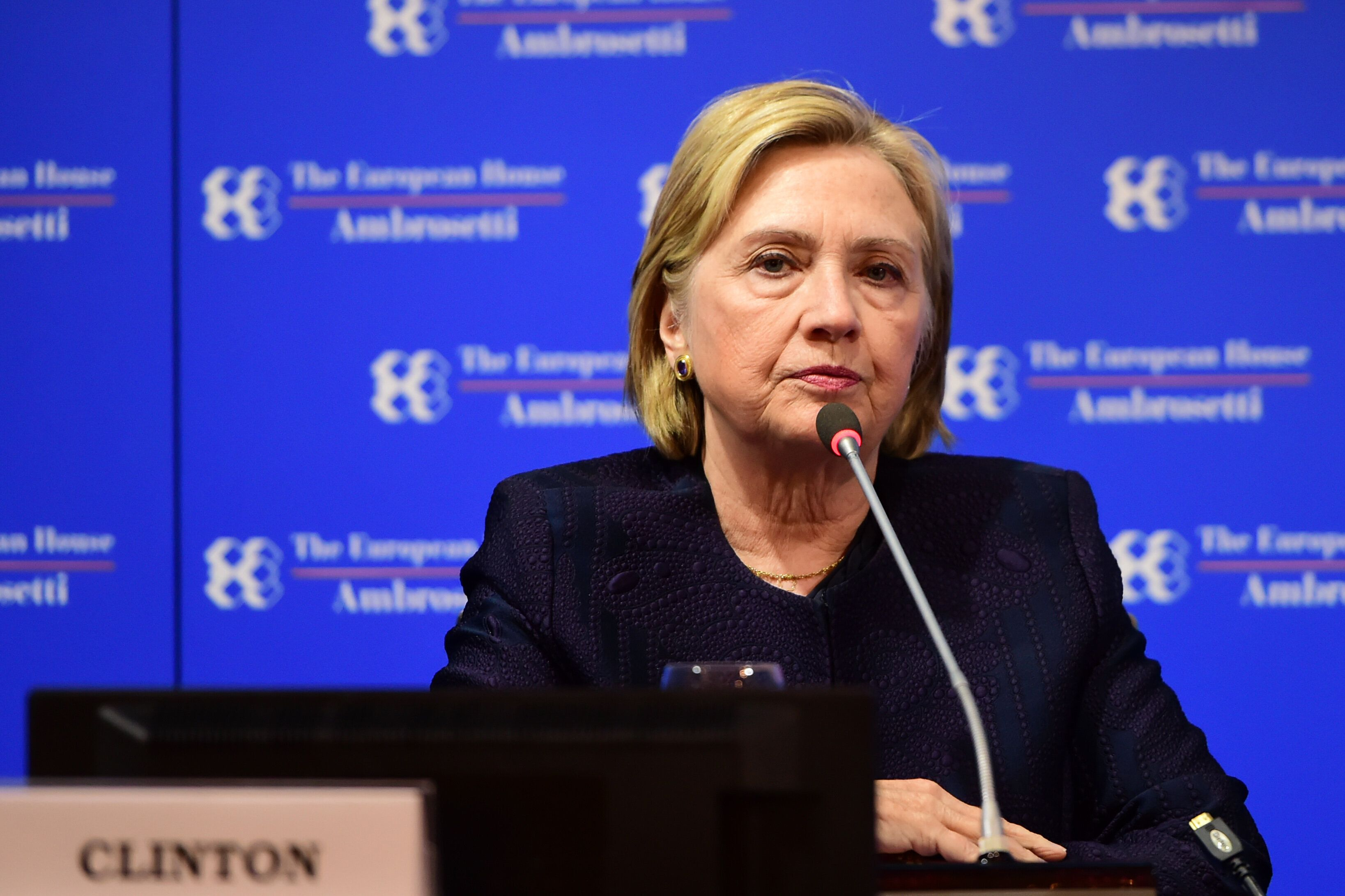 Former Secretary of State Hillary Clinton, pictured here at the Ambrosetti International Economic Forum in Italy earlier this