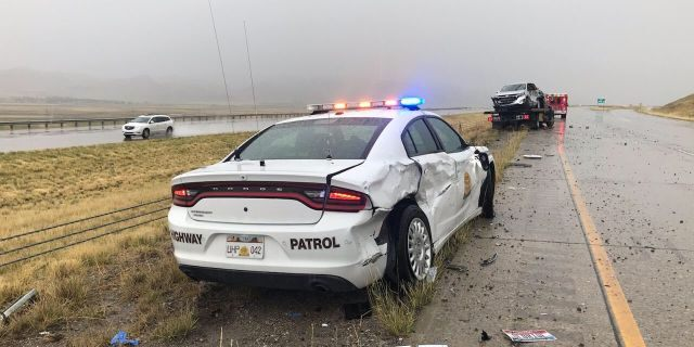 Damage to Sgt. Brian Nelson's vehicle after it was struck by a truck that hydroplaned Saturday on Interstate 15 in Box Elder County.