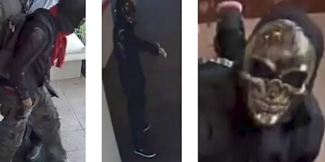 """The suspects in the two bank robberies wore """"ghost masks,"""" according to police."""