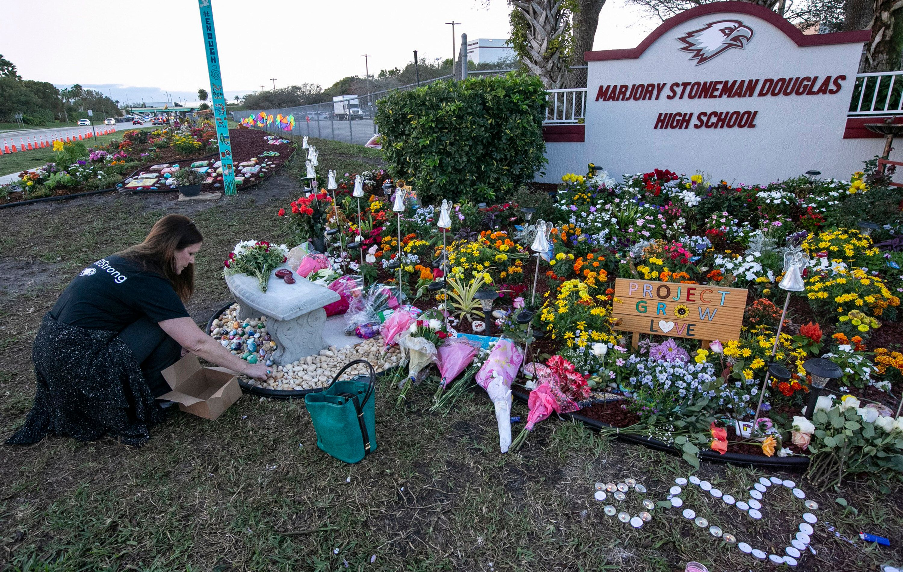 A memorial marking the first anniversary of the mass shooting at Marjory Stoneman Douglas High School in Parkland, Florida.