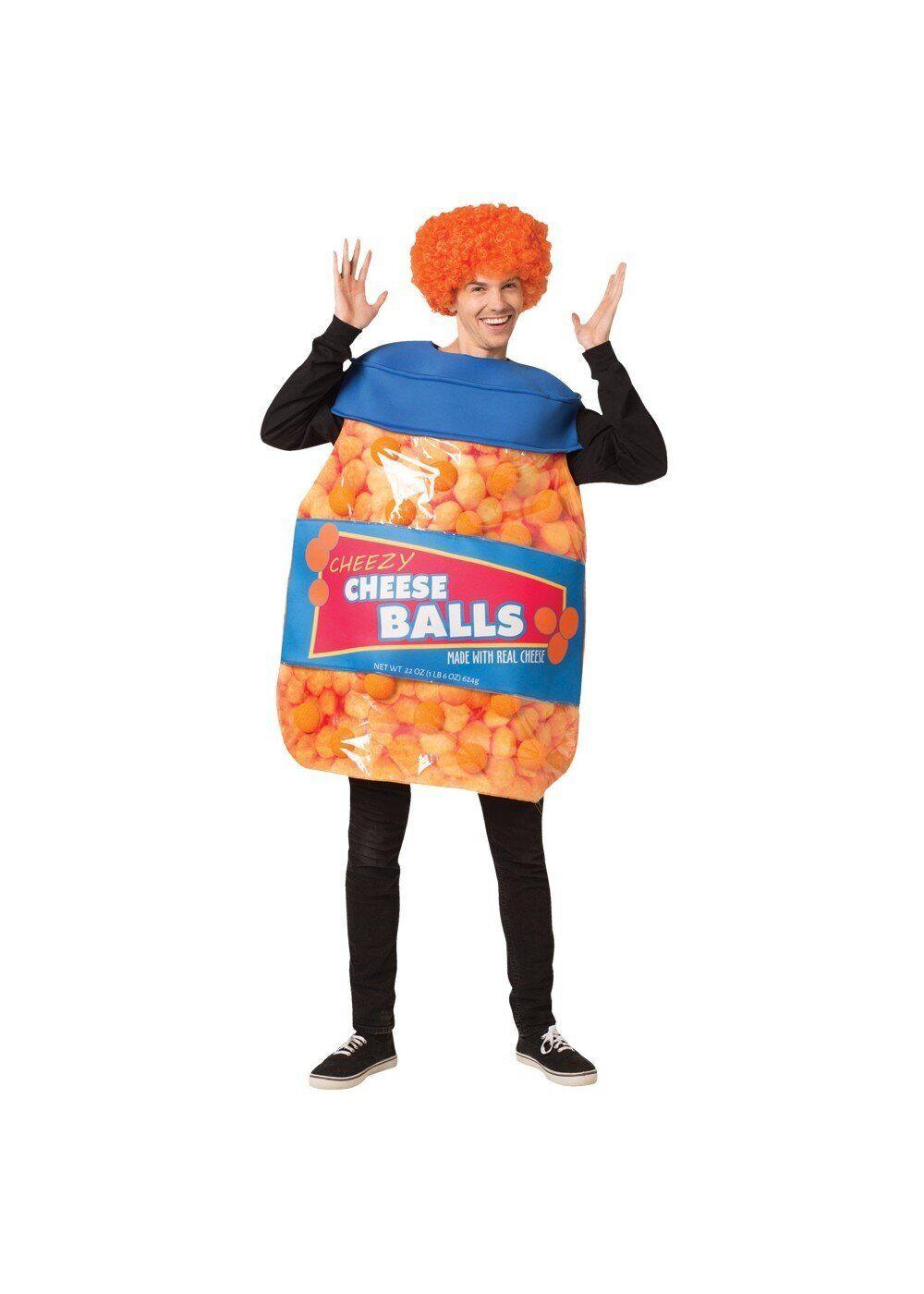 "Once a <a href=""https://www.wondercostumes.com/unisex-cheeseballs-costume.html"" target=""_blank"">cheeseball,</a> always a chee"