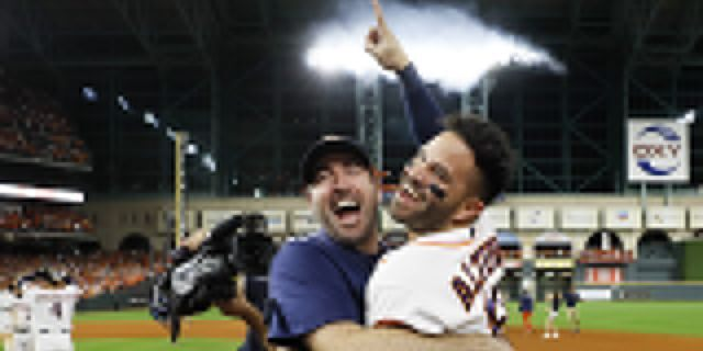 Houston Astros' Jose Altuve, right, and starting pitcher Justin Verlander celebrate after winning Game 6 of baseball's American League Championship Series against the New York Yankees Saturday, Oct. 19, 2019, in Houston. The Astros won 6-4 to win the series 4-2. (Associated Press)