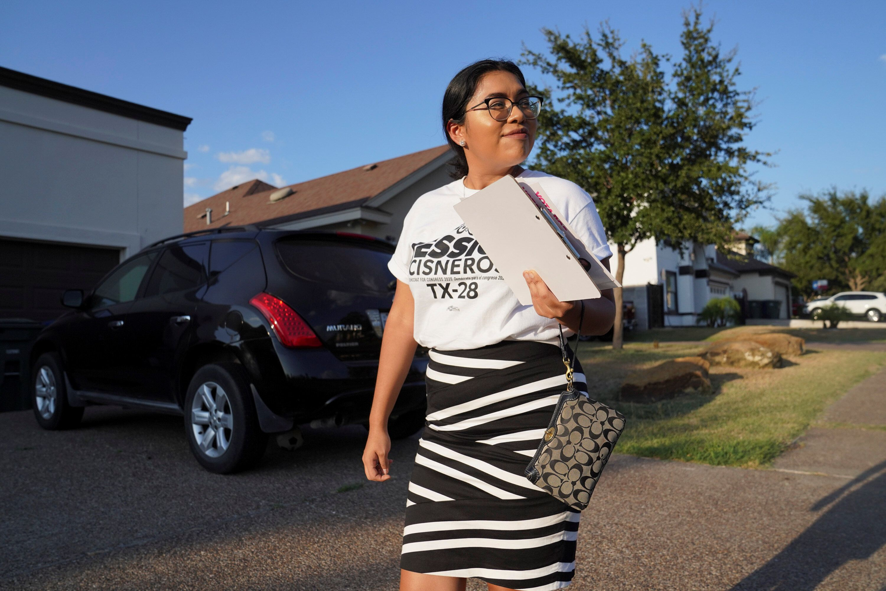 Democrat Jessica Cisneros campaigns for a House seat in Laredo, Texas, on Oct. 8. Ocasio-Cortez is the first sitting House me