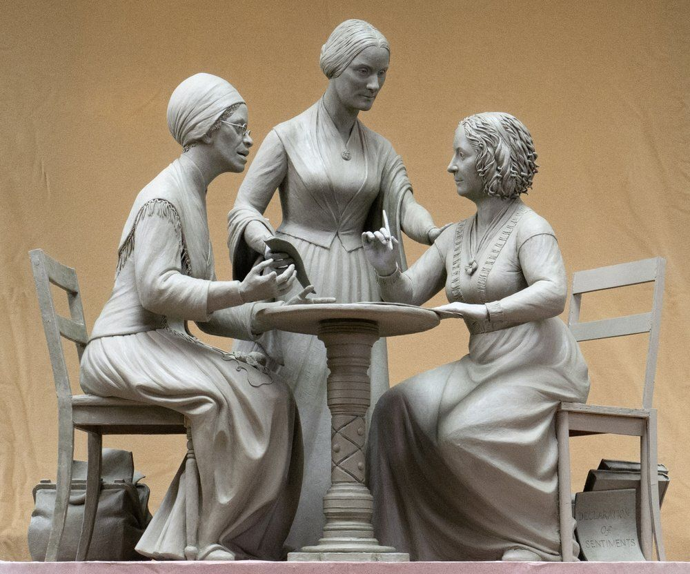 This Oct. 6, 2019 photo provided by Michael Bergmann shows a one-third scale clay model of Sojourner Truth, left, Susan B. An